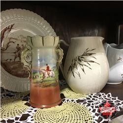 Large Variety Glassware/China (Jadeite, Nippon, Wedgewood, etc) & Coca-Cola Trays (2)