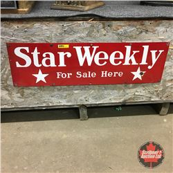 """""""STAR Weekly For Sale Here"""" Enamel Sign  8"""" x 28"""""""