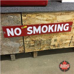"""""""No Smoking"""" Enamel Sign 4"""" x 24"""""""