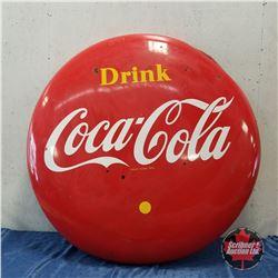 "1959 ""Drink Coca-Cola"" Yellow Dot 4' Button (Dented Top Edge)"