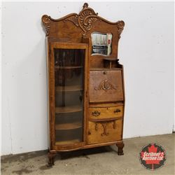 """Curved Front Secretary Combo - Bevelled Mirror  (74""""H x 41""""W x 12""""D)"""