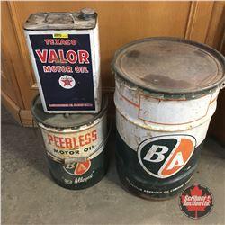 Tin Trio: Texaco Valor Gallon Tin, B/A 5 Gallon Pail, B/A Barrel