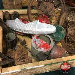 Crate Lot:  Vintage Automotive (Steel Spoke Wheels, Gas Cans, Tire Pumps, Car Horns, Luggage Gate, e