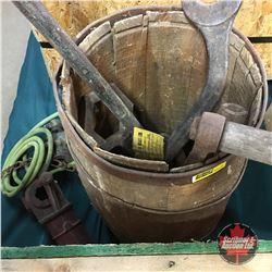 Nail Keg w/Contents (Tools, PTO Driven Air Compressors, Crank, etc)