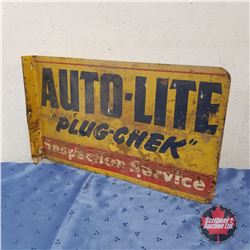 "Auto-Lite Spark Plugs - Double Sided Flange Sign  (12"" x 19"")"