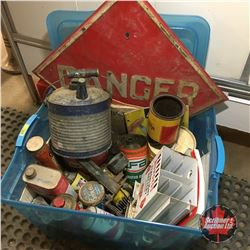 Tote Lot: Danger Sign, Flashlight Battery Center Display, Asstd Small Tins, Manuals, etc