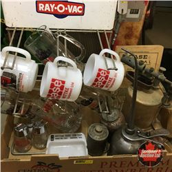 Tray Lot: Ray-O-Vac Display Rack, CASE (Cups, Manual, Ashtray, S&P), Blow Torch, Oilers, etc