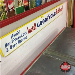 """Avoid Antifreeze Loss & Overheating Install Good Year Rad Hose"" Tin Sign   5"" x 37"""