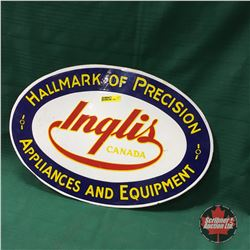 """Inglis Appliances & Equipment"" Oval Enamel Sign   12"" x 18"""