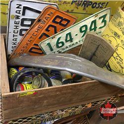 Wood Box Lot: Chev Emblem, Lic Plates, Repair Manual, Tire Repair Containers, Farm Account Book, Cal