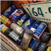 Image 2 : Wood Box Lot: Chev Emblem, Lic Plates, Repair Manual, Tire Repair Containers, Farm Account Book, Cal