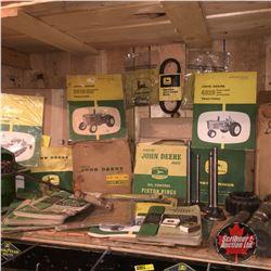 Shelf Lot: Large Variety of John Deere Parts (Manuals, Shafts, Piston Rings, Valves, Steak Brand, et