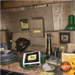Shelf Lot: Large Variety of John Deere Parts (Gears, Oil Pump Screen, Gasket Set, Wiring Harness, et