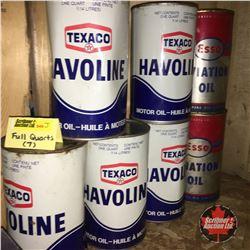 Quart Oil Tins - Full : Texaco (5) & ESSO Aviation (2)