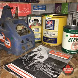GM Product Grouping : Tins (3), Bottle, Product Review Pamphlets, & Spark Plug Indicator