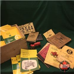 Wood Box Lot w/Incredible Collection of Tractor Manuals (Variety), License Plate, Toy Tractor, etc