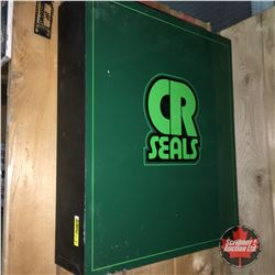 """""""CR Seals """" Metal Storage Cabinet w/Nice Collection of 22 Small Tins (De Icer, Lapping Compound, Sto"""