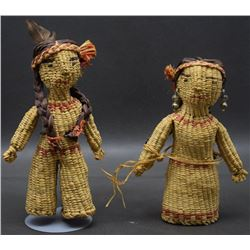 PAIR OF QUINAULT INDIAN BASKETRY DOLLS