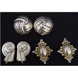 THREE PAIR MEXICAN SILVER EARRINGS