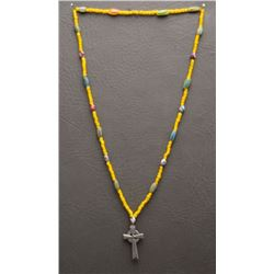 TRADE BEAD CROSS NECKLACE