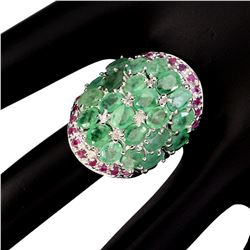 Natural Top Rich Green Emerald Ruby Ring