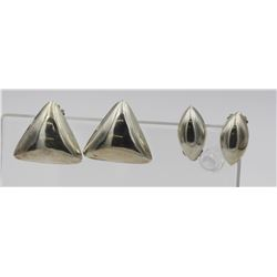 (2) PAIRS OF STERLING SILVER CLIP BACK EARRINGS