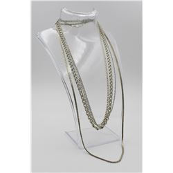 GROUP OF 4 STERLING SILVER CHAINS