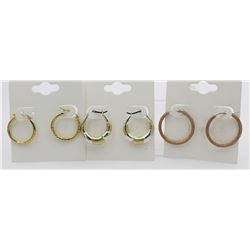 3 PAIRS OF GOLD TONED .925 HOOP EARRINGS