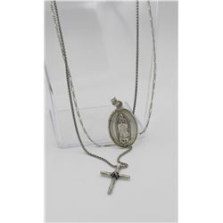 TWO RELIGIOUS STERLING SILVER NECKLACES