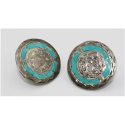 MEXICO .925 AND TURQUOISE TWIST BACK EARRINGS