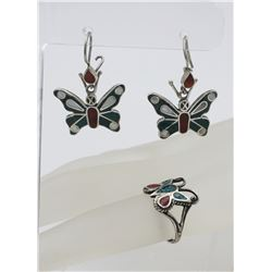 .925 & RED AND TURQUOISE ENAMEL BUTTERFLY SET
