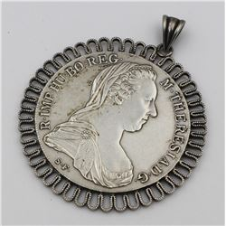 1780 MARIA THERESA SILVER RESTRIKE PENDANT