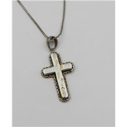 .925 & 14K ACCENTS CROSS NECKLACE