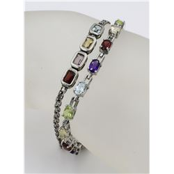 TWO STERLING SILVER BRACELETS WITH MULTI-COLORED
