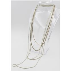 GROUP OF (5) ROPE STYLE STERLING SILVER CHAINS