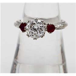 ESTATE TACORI STERLING SILVER RING WITH CZS