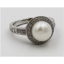 ESTATE STERLING SILVER RING, CULTURED PEARL