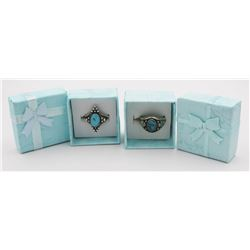 TWO .925 & TURQUOISE RINGS