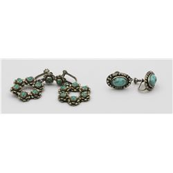TWO PAIRS OF VINTAGE .925 AND TURQUOISE EARRINGS
