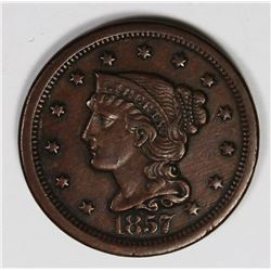 1857 LARGE CENT LARGE DATE XF