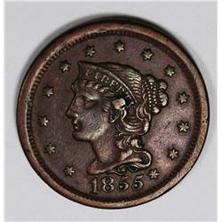 1855 LARGE CENT KNOB ON EAR XF