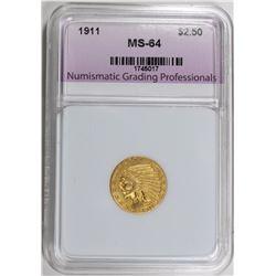 1911 $2.50 INDIAN GOLD NGP