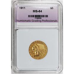 1911 $5.00 INDIAN GOLD NGP