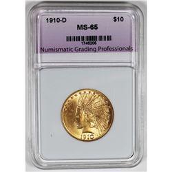 1910-D $10 INDIAN GOLD. NGP