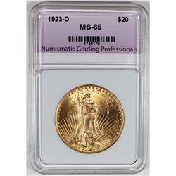 1923-D $20 ST. GAUDENS GOLD GEM BU