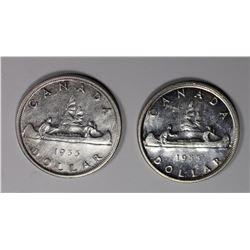 (2) 1955 CANADA SILVER DOLLARS