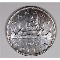 1945 CANADIAN SILVER DOLLAR CH BU++