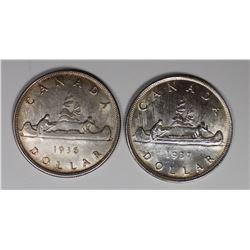 CANADIAN SILVER DOLLARS: 1936 AU & 1937 BU