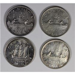CANADIAN SILVER DOLLARS: 1950, 1949, 1953 & 1951