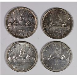 CANADIAN SILVER DOLLARS (2) 1952 & (2) 1957